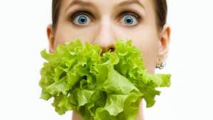 lettuce in mouth